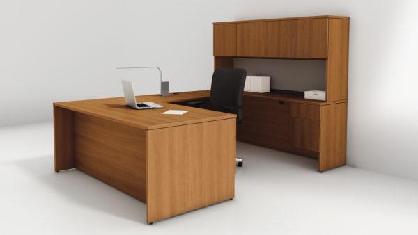 Concept 400E U Desk Suite in Natural Cherry