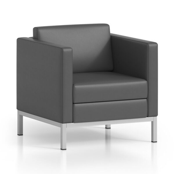 Cube 300 | Arm Chair, Metallic Silver Legs