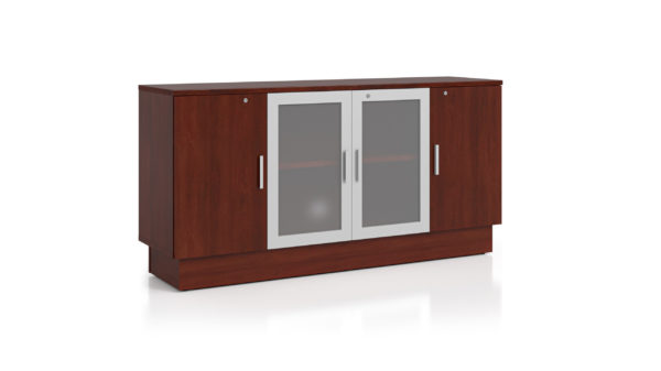 Quorum Credenza with glass doors and aluminum frame doors.